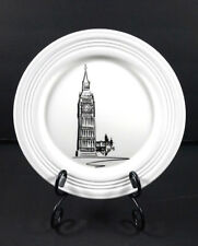 """LENOX Tin Can Alley BIG BEN~2 Bone China Lunch Plates 9.25""""  - Made in USA ~ NEW"""