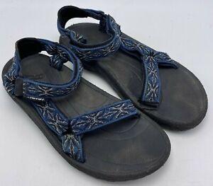 "Teva Sz 6.5 Mens Sport Sandals Nylon Hiking Athletic Blue & Black 5.2"" Heel -Toe"