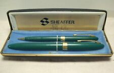 1952~SHEAFFER SARATOGA SNORKEL~PASTEL GREEN~14K FOUNTAIN PEN & PENCIL SET wCASE