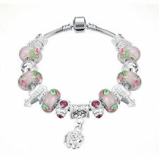 PDR pendant macroporous pink rose glass bead bracelet snake chain