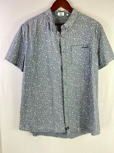 MOOKS Size XL Mens Grey Printed Casual Button Down Short Sleeves Polo Shirts