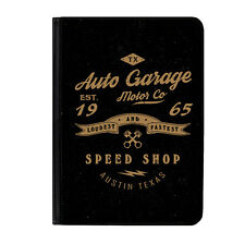 "Vintage Black Auto Garage Car Universal Tablet 9-10.1"" Leather Flip Case Cover"