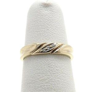 10K Gold 3 Stone Diamond Wavy Petite Band Pinky Ring