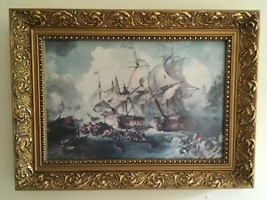 Ship At Sea In A Storm Print in Ornate Gold Frame