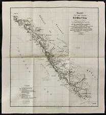 1891 Raro Kaart furgone het eiland Sumatra - Carta antica - Antico mappa