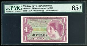 Series 641 $1 MPC Military Payment Certificate PMG Gem Uncirculated 65 EPQ