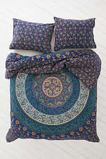 Doble Hippie Tapiz India Azul Mandala Manta Decoración Pared Gitano Boho Colcha