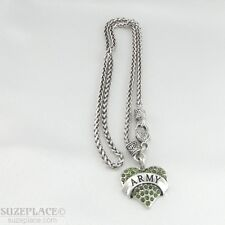 NEW ARMY GREEN CRYSTAL HEART CHARM SILVER NECKLACE HEART CLASP MILITARY