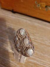925 Silver Boho Ring Semi Precious Stones Size Q