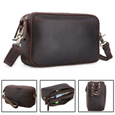 Vintage Men Leather Clutch Bag Shoulder Bag Long Wallet Cowboy Purse Phone Hold