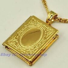 """1.26""""5g ALLAH BOOK OPEN CHARM 18K YELLOW GOLD PLATED 23.6"""" NECKLACE GEP PENDANT"""