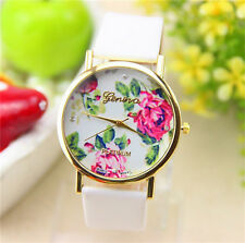 WHOLESALE 6pcs Women Girl Geneva Leather Rose Flower Watch Quartz Watches