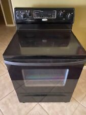 Whirlpool Electric Range Stove Black w/ Installed Electrical Cord & All Shelving
