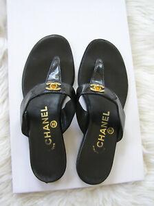 AUTH CHANEL COCO Women's CC Logo Flip Flops Sandals Shoes SZ 35.5