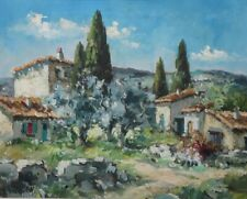 Vintage French Oil Painting on Canvas, Farm in Provence, Cypress Trees, Signed