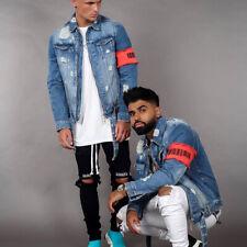 Men Denim Jacket Frayed Denim coat Jean Jackets Long Sleeve Coats Jacket Tops
