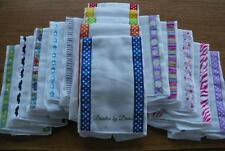 Set of 5 Decorated Baby Burp Cloths,Very absorbent, Pick Girl, Boy,or Dot Set