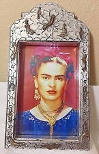 "Mexican Tin Wrapped Wood Frida Kahlo Potrait Niche Milagros Folk Art 12"" x 7"""