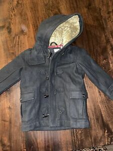 Old Navy Boys Jacket Wool Blend Size XS Black Sherpa Linen