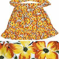 Vintage Floral Half Apron Handmade Long Ties Pocket Ruffles