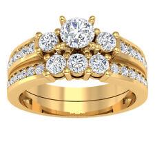 2.00Ct Round-Cut Diamond Halo Bridal Set Engagement Ring 14K Yellow Gold Finish