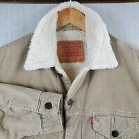 VTG LEVIS Size XL Mens Sherpa Lined Tan Khaki Corduroy Trucker Jacket Coat Mens