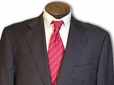$1695 Pinnacle Clothiers Custom canvas Grey w Red Stripes 2 Button Suit 42L C088