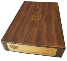 "Colt Revolver Pistol Box - 9"" Overall Length - Dark Woodgrain w/Gold Label"