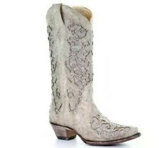 Women Mid Calf Boots Chunky Heel Wide Calf Cowgirl Cowboy Crystal Western Shoes