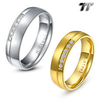 TT 6mm Brushed S.Steel Eternity CZ Wedding Comfort Band Ring Size 6-14 (R205)