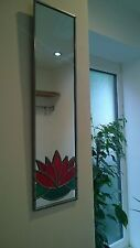 Water lily Mackintosh style handcrafted stained glass effect mirror 10x40cm