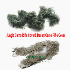2PCS Woodland Camouflage & Desert Camo Rifle Cover for Ghillie Sniper Paintball