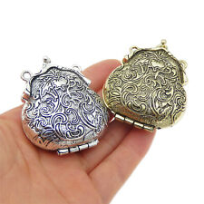 52609 Multiple Colors Carved Locket Look Alloy Pendant Jewelry Making Lots 2pcs