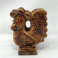 Vintage MCM Ceramic Rooster Napkin Holder Handmade Dark Yellow Carmel Brown
