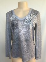 Coldwater Creek Women's size M Gray Rhinestone T-shirt Top blouse Long Sleeve
