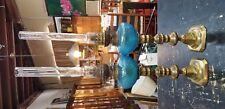 PAIR OF KOSMOS & BRENNER OIL LAMPS BLUE GLASS & BRASS