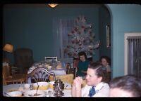 Candid Shot Christmas Tree Holiday Dinner 1958 50s Vintage 35mm Kodachrome Slide