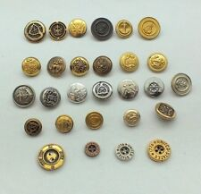 Vintage Antique Brass Gold Silver MILITARY Shank Buttons Lot of 28