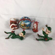 Vintage MCM Christmas Decorations Lot - Pixie Elf Elves Santa Claus - Lot Of 5