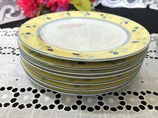 "Set of 7 Royal Doulton ""Blueberry"" Yellow Salad Plates 7 1/2"""