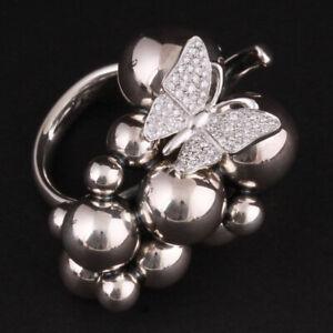 Georg Jensen Sterling Ring w. Diamonds # 551F. Gold. Grapes. Harald Nielsen. NEW