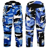 Cordura Textile Motorbike Camo Pants For Bikers Breathable Waterproof Pant Blue