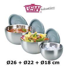 3 Stück Thermoschüssel Schüssel Set GSW Edelstahl Isolierschüssel 18/22/26 cm