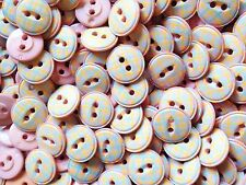 APPRX 100 PASTEL CANDY BABY CRAFT BUTTONS  BABY PINK BLUE CHECK GINGHAM 15mm