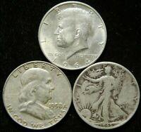 3 Coin Half Dollar Lot , Walking Liberty Kennedy Franklin  90% Silver Bullion