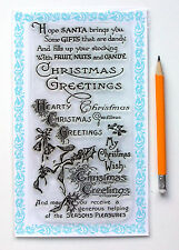 """Clear Stamps Lot (4""""x7"""") Christmas Greeting Saying Wish Vintage FLONZ 834 Rubber"""