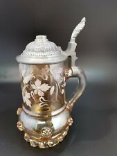 More details for antique german coloured glass enamel and pewter stein / tankard (be305 ga)