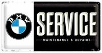 Long Retro Tin Metal Embossed Sign BMW SERVICE Licensed 25x50cm Nostalgic Art