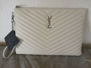 Yves Saint Laurent YSL Monogram Tablet Pouch Calfskin Matelasse Chevron Bag NEW