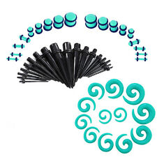 Acrylic Ear Stretching Kit with Spiral Tapers & Plugs Set 54pc Gauges 14g-00g